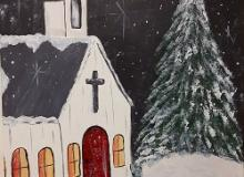 Snowy Church Painting